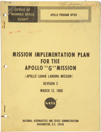"""Apollo 11: NASA """"Mission Implementation Plan for the Apollo 'G' Mission"""" Dated March 13, 1969, Directly From T..."""