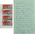 Explorers:Space Exploration, Apollo-Soyuz Test Project Crew-Signed Block of Four Soviet Stamps Acquired by and with a Handwritten Letter of Transmittal and...