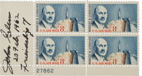 """John Glenn Signed """"Robert H. Goddard"""" Plate Block with Added Date and Mission"""
