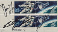 """Explorers:Space Exploration, Apollo 8 Flown and Crew-Signed """"Gemini Four"""" Plate Block, with Two Letters of Provenance from Mission Commander Frank Borman...."""