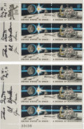 """Explorers:Space Exploration, Apollo 15 Crew-Signed """"Decade of Achievement"""" Plate Blocks of Six (Two), with Handwritten Letter of Provenance and Transmittal..."""