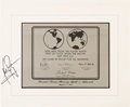 Explorers:Space Exploration, Neil Armstrong Signed Apollo 11 Lunar Plaque Replica from the 1969 Nixon Presidential State Dinner, Signed for a Member of His...