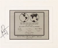 Neil Armstrong Signed Apollo 11 Lunar Plaque Replica from the 1969 Nixon Presidential State Dinner, Signed for a Member...