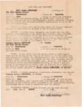 Explorers:Space Exploration, Neil Armstrong Original Signed Copy of His 1951 Navy Last Will and Testament. ...