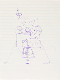 Neil Armstrong Hand-Drawn Image of the Lunar Module on the Moon, One of a Series He Drew for His Father as He Explained...