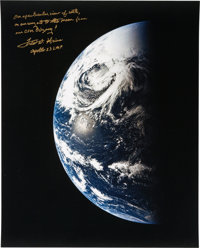 Fred Haise Signed Large Apollo 13 Color Photo of Earth