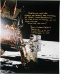 Explorers:Space Exploration, Alan Bean Signed Large Apollo 12 Lunar Surface Color Photo with an Extensive Annotation....
