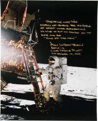 Alan Bean Signed Large Apollo 12 Lunar Surface Color Photo with an Extensive Annotation