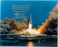 Explorers:Space Exploration, Charlie Duke Signed Large Apollo 16 Launch Color Photo adding a Kipling Quote, with Photographic Provenance....