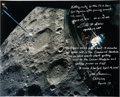 Explorers:Space Exploration, Apollo 13 Large Lunar Color Photo Signed by James Lovell, Fred Haise, and Jack Lousma, with Annotations. ...