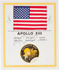 Explorers:Space Exploration, Apollo 13 Flown American Flag on a Crew-Signed Certificate, Originally from the Personal Collection of Mission Command Module ...