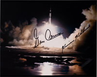 Apollo 17 Moonwalkers-Signed Night Launch Color Photo with Astronaut Scholarship Foundation Certification