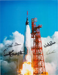 Explorers:Space Exploration, Mercury Seven Astronauts: Launch Color Photo Signed by John Glenn, Scott Carpenter, Wally Schirra, and Gordon Cooper, with Ast...