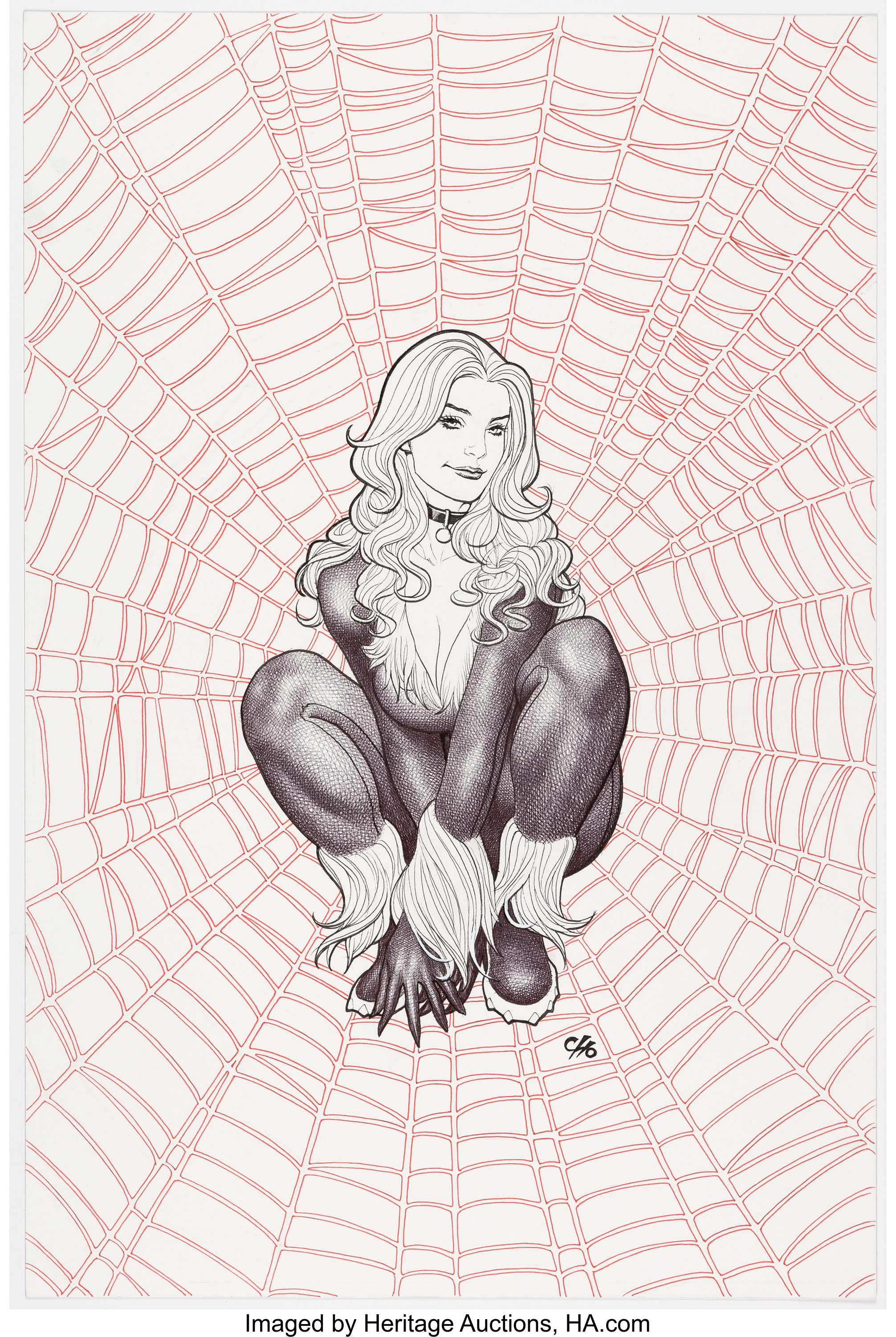 Frank cho black cat unpublished illustration original art c lot 15034 heritage auctions