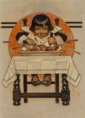 Fine Art - Painting, American, Joseph Christian Leyendecker (American, 1874-1951).Thanksgiving, The Saturday Evening Post cover, November 12,1910. Oi...