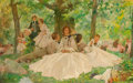 Paintings, Thomas Fogarty (1873-1938). A Summer Picnic, 1937. Oil on canvas. 48 x 76-1/2 inches (121.9 x 194.3 cm). Signed twice an...