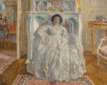 Fine Art - Painting, American, Frederick Carl Frieseke (American, 1874-1939). The WhiteGown, 1923. Oil on canvas. 25-1/2 x 32 inches (64.8 x 81.3cm)...
