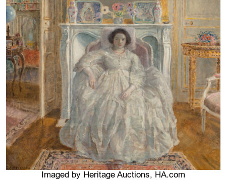 Frederick Carl Frieseke (American, 1874-1939)The White Gown, 1923Oil on canvas25-1/2 x 32 inches (64.8 x 81.3 cm)...