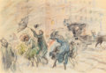 Fine Art - Painting, American, Everett Shinn (American, 1876-1953). Windy Day, New York,1898. Pastel on paper. 13-5/8 x 20 inches (34.6 x 50.8 cm) (sh...