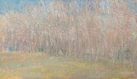 Wolf Kahn (American, b. 1927) Trees and Cabins in Winter Fog, 1979 Oil on canvas 42 x 72 inches (