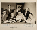Autographs:Celebrities, Mercury Seven Astronauts: Early NASA Group Photo Signed by All,Originally Given by Gus Grissom's Son to a Childhood Friend, w...