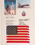 Explorers:Space Exploration, Space Shuttle Columbia (STS-1) Flown American Flag on Presentation. ...