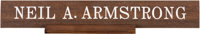 Neil A. Armstrong Personal Dual-Sided Desk Nameplate Directly From The Armstrong Family Collection™, Certified by Collec...