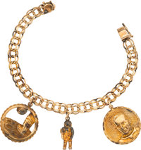 Jewelry: Janet Armstrong's Gold Charm Bracelet in 10K Gold with Three Gold Apollo 11-Related Charms Directly From The Ar...