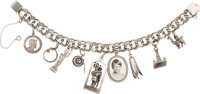 Jewelry: Janet Armstrong's Amethyst, Silver, White Metal Charm Bracelet Featuring Eight Charms Directly From The Armstro...