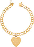 Explorers:Space Exploration, Jewelry: Janet Armstrong's 14K Gold Bracelet with Engraved Heart Charm Directly From The Armstrong Family Collection™, Certifi...
