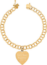 Jewelry: Janet Armstrong's 14K Gold Bracelet with Engraved Heart Charm Directly From The Armstrong Family Collection™, C...