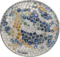 Jewelry: Janet Armstrong's Diamond, Colored Diamond, Sapphire, White Gold Pendant-Brooch Directly From The Armstro