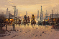 G. (Gerald Harvey Jones) Harvey (American, 1933-2017) When Cowboys Don't Change, 1993 Oil on canvas<
