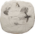 Post-War & Contemporary:Sculpture, Joan Brown (1938-1990). Sweet Hearts Forever, circa 1960.Graphite on plaster on wooden base. 18 x 18 x 1-1/2 inches (45...