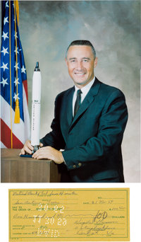 Gus Grissom Filled-out and Signed 1959-Dated Check with Color Photo