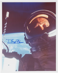 """Gemini 12: Buzz Aldrin Signed """"First Selfie in Space"""" Color Photo"""