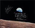 "Explorers:Space Exploration, Apollo 8: ""Earthrise"" Color Photo Signed by James Lovell and Frank Borman with an Added Quote from the Christmas Eve Broadcast..."