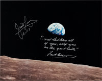 "Apollo 8: ""Earthrise"" Color Photo Signed by James Lovell and Frank Borman with an Added Quote from the Christm..."