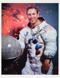 Explorers:Space Exploration, James Lovell Signed White Spacesuit Color Photo with Novagraphics COA....