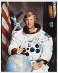 Explorers:Space Exploration, Rusty Schweickart Signed White Spacesuit Color Photo with Photographic Provenance....