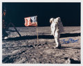 "Explorers:Space Exploration, Buzz Aldrin Signed Lunar Surface ""Flag"" Color Photo. ..."
