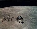 Explorers:Space Exploration, Gene Cernan Signed Apollo 10 Command Module Charlie Brown in Lunar Orbit Color Photo. ...