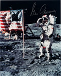 "Explorers:Space Exploration, Gene Cernan Signed Apollo 17 Lunar Surface ""Flag"" Color Photo. ..."