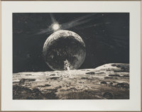 """Robert McCall Signed Limited Edition """"Lunar Landing"""" Print, #157/170. In Framed Display"""