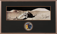 """Gene Cernan Signed Large Apollo 17 """"Tracy's Rock"""" Panoramic Lunar Surface Photo in with Novaspace Certificate..."""