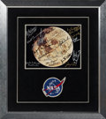 Explorers:Space Exploration, NASA Apollo and Skylab Missions: Full Moon Color Photo Signed by Twenty-five Astronauts and Two Ground Crew Members, with Phot...