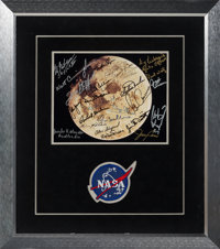 NASA Apollo and Skylab Missions: Full Moon Color Photo Signed by Twenty-five Astronauts and Two Ground Crew Members, wit...