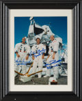 Explorers:Space Exploration, Apollo 12 Crew-Signed White Spacesuit Color Photo in Framed Display. ...