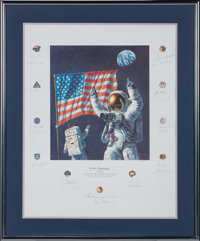 """Alan Bean Signed Limited Edition """"In the Beginning..."""" Print, #AP43/150, Signed by a Total of Twenty-two Apoll..."""
