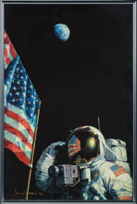 """Alan Bean Signed Limited Edition """"An American Success Story"""" Giclée Canvas Print, #27/100, in Framed Di..."""